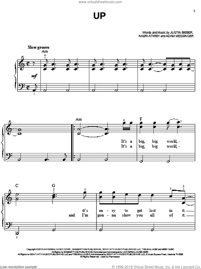 Up sheet music for piano solo by Justin Bieber, Adam Messinger and Nasri Atweh, easy skill level