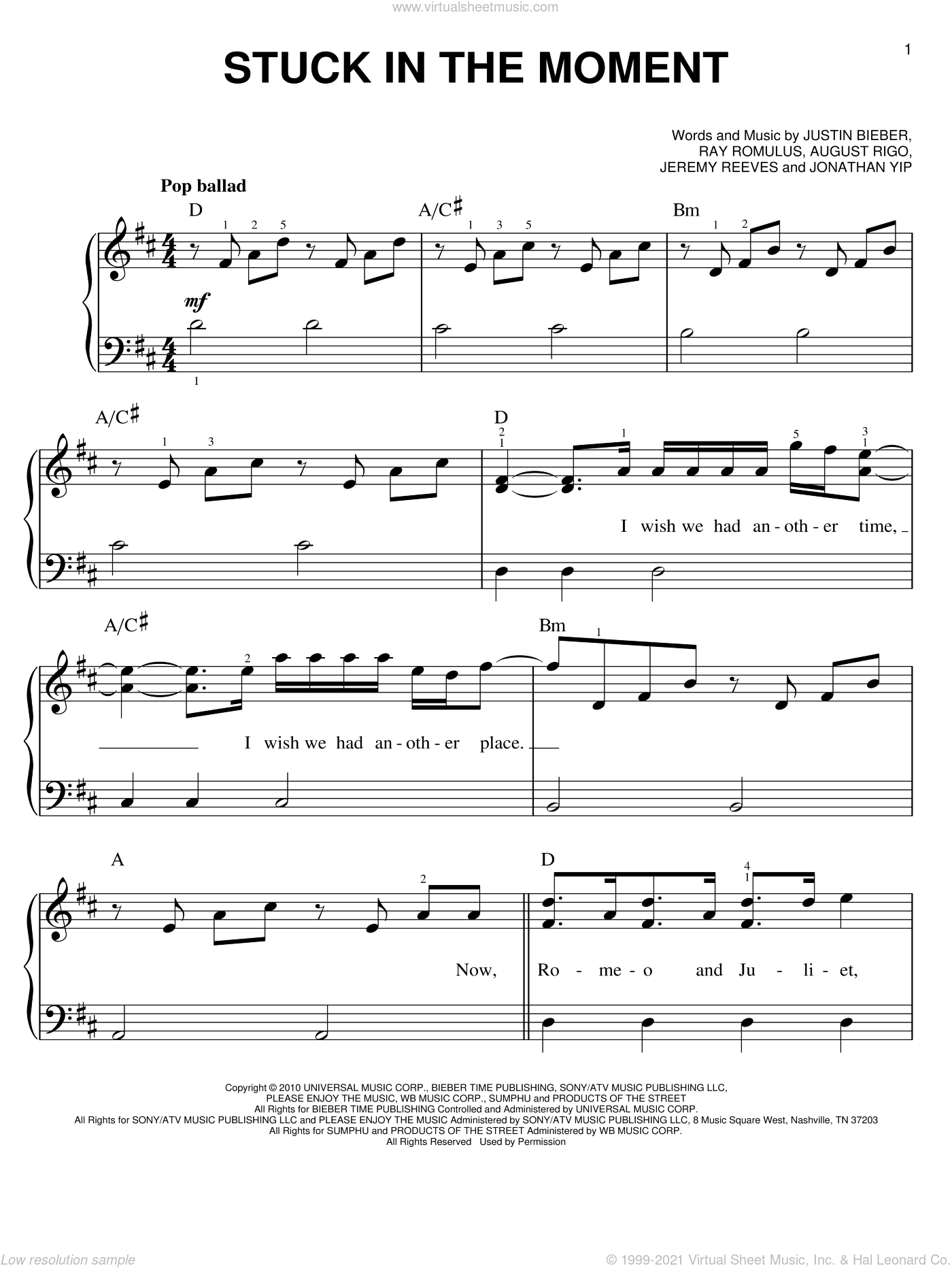 Stuck In The Moment sheet music for piano solo by Justin Bieber, August Rigo, Jeremy Reeves, Jonathan Yip and Ray Romulus, easy skill level