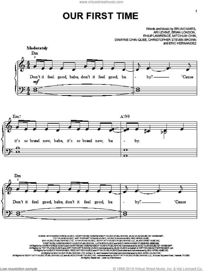Our First Time sheet music for piano solo by Bruno Mars, Ari Levine, Brian Wiggins, Christopher Steven Brown, Dwayne Chin-Quee, Eric Hernandez, Mitchum Chin and Philip Lawrence, easy skill level