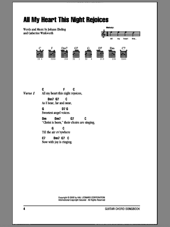 All My Heart This Night Rejoices sheet music for guitar (chords) by Paul Gerhardt and Catherine Winkworth, intermediate. Score Image Preview.
