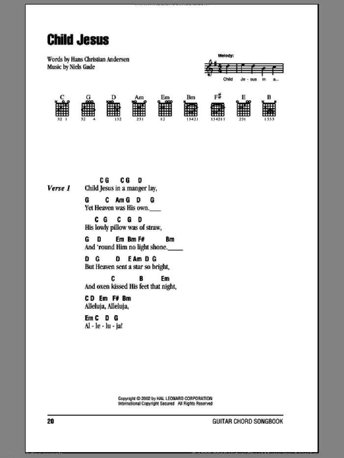 Child Jesus sheet music for guitar (chords) by Hans Christian Andersen and Niels Gade, Christmas carol score, intermediate guitar (chords). Score Image Preview.