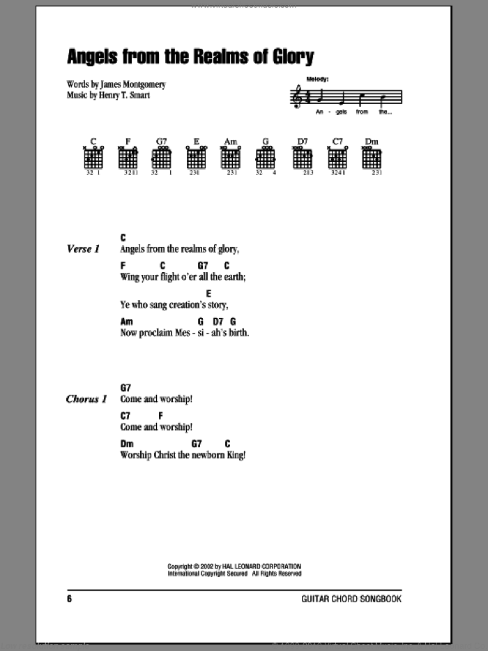 Angels From The Realms Of Glory sheet music for guitar (chords) by Henry T. Smart