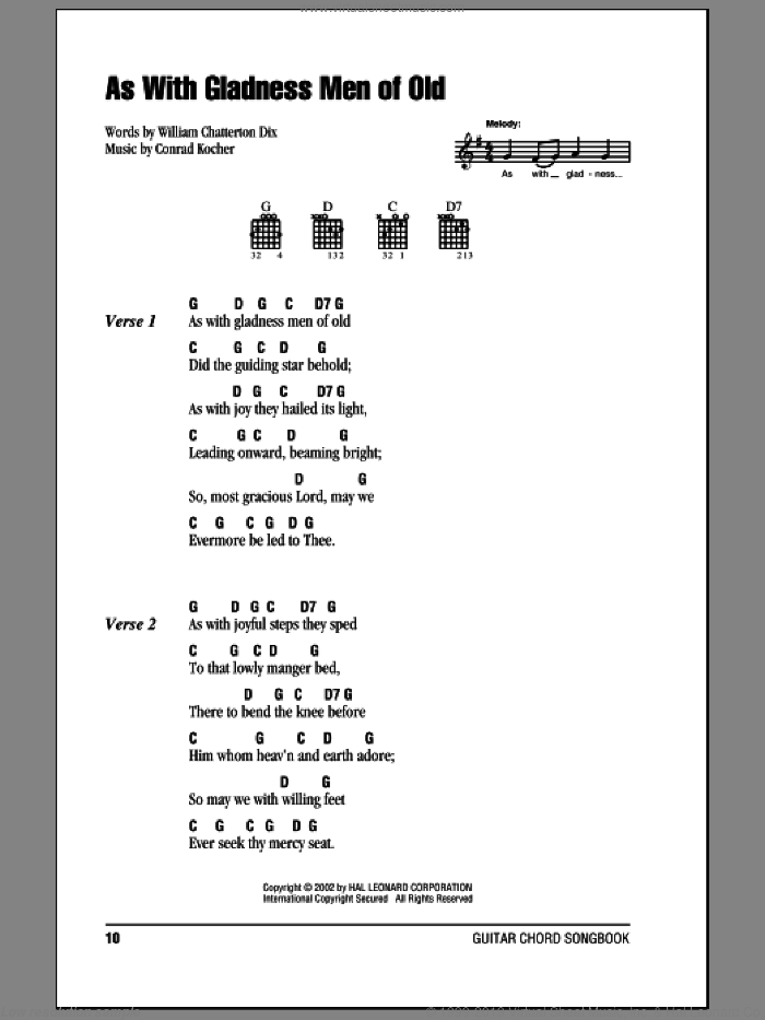 As With Gladness Men Of Old sheet music for guitar (chords) by William Chatterton Dix and Conrad Kocher. Score Image Preview.
