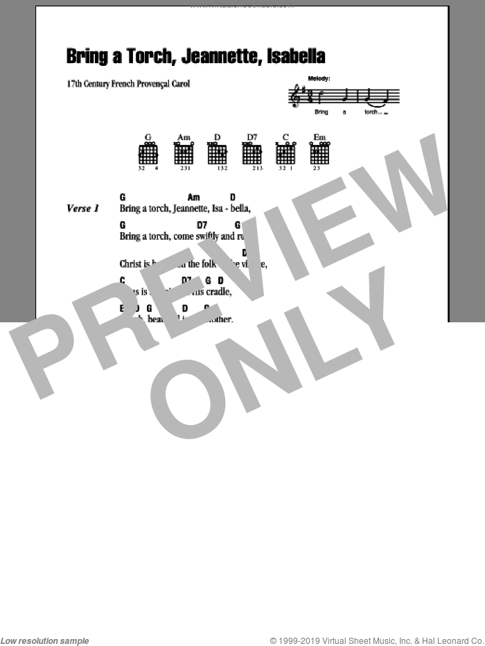 Bring A Torch, Jeannette Isabella sheet music for guitar (chords) by Anonymous and Miscellaneous, intermediate. Score Image Preview.