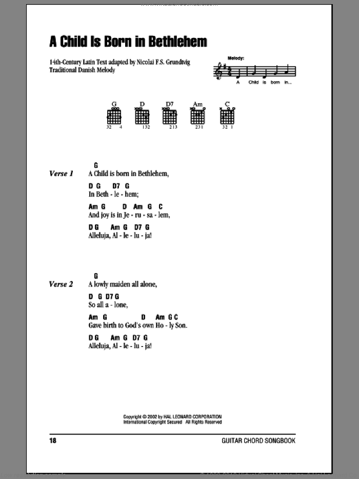 A Child Is Born In Bethlehem sheet music for guitar (chords) by Traditional Danish Melody and Nicolai F.S. Grundtvig, intermediate skill level