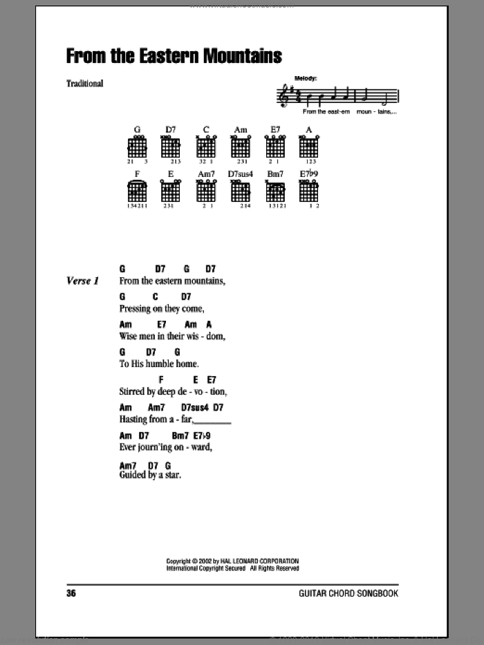 From The Eastern Mountains sheet music for guitar (chords) by Godfrey Thring. Score Image Preview.