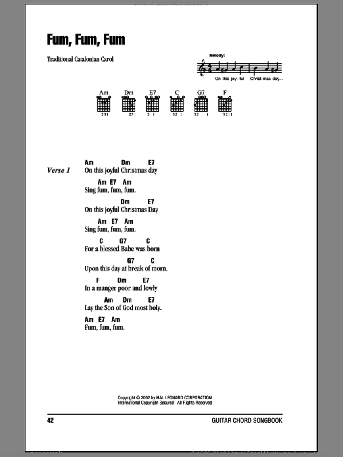 Fum, Fum, Fum sheet music for guitar (chords). Score Image Preview.