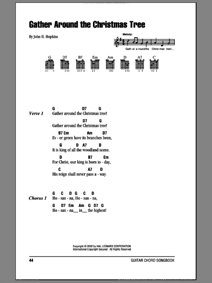 Gather Around The Christmas Tree sheet music for guitar (chords) by John H. Hopkins. Score Image Preview.