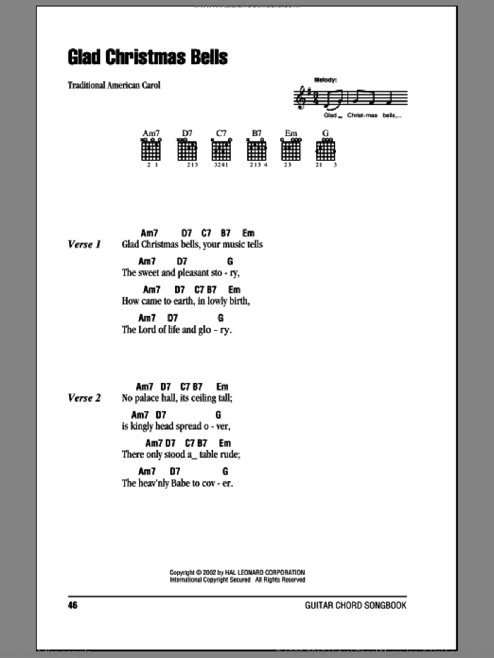 Glad Christmas Bells sheet music for guitar (chords) by Traditional American Carol