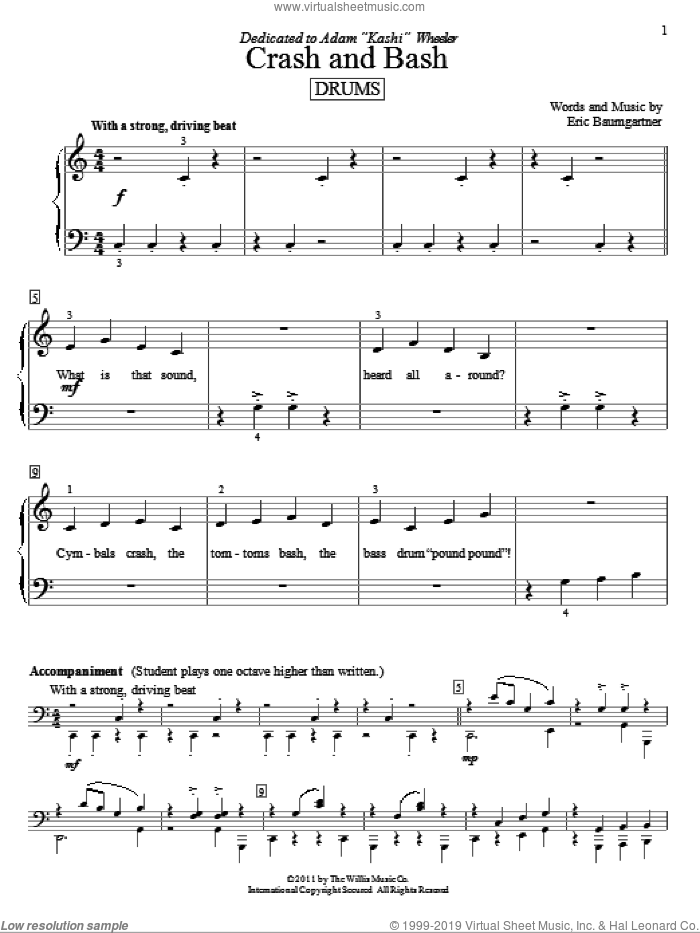 Crash And Bash (Drums) sheet music for piano solo (elementary) by Eric Baumgartner. Score Image Preview.