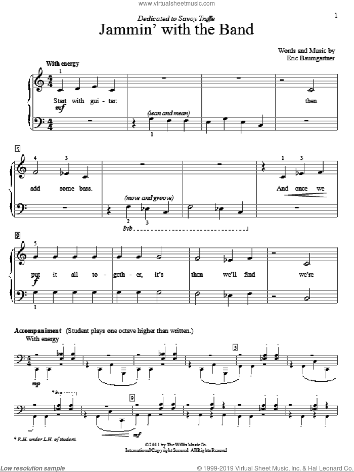 Jammin' With The Band sheet music for piano solo (elementary) by Eric Baumgartner