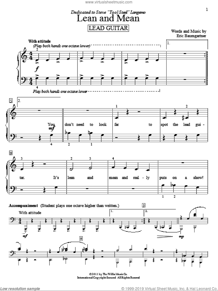 Lean And Mean (Lead Guitar) sheet music for piano solo (elementary) by Eric Baumgartner, beginner piano (elementary). Score Image Preview.