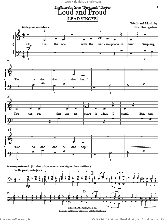 Loud And Proud (Lead Singer) sheet music for piano solo (elementary) by Eric Baumgartner, beginner piano (elementary)