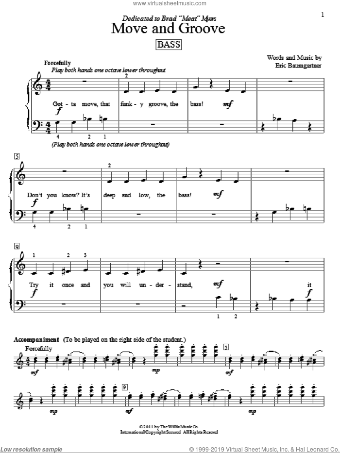 Move And Groove (Bass) sheet music for piano solo (elementary) by Eric Baumgartner, beginner piano (elementary). Score Image Preview.