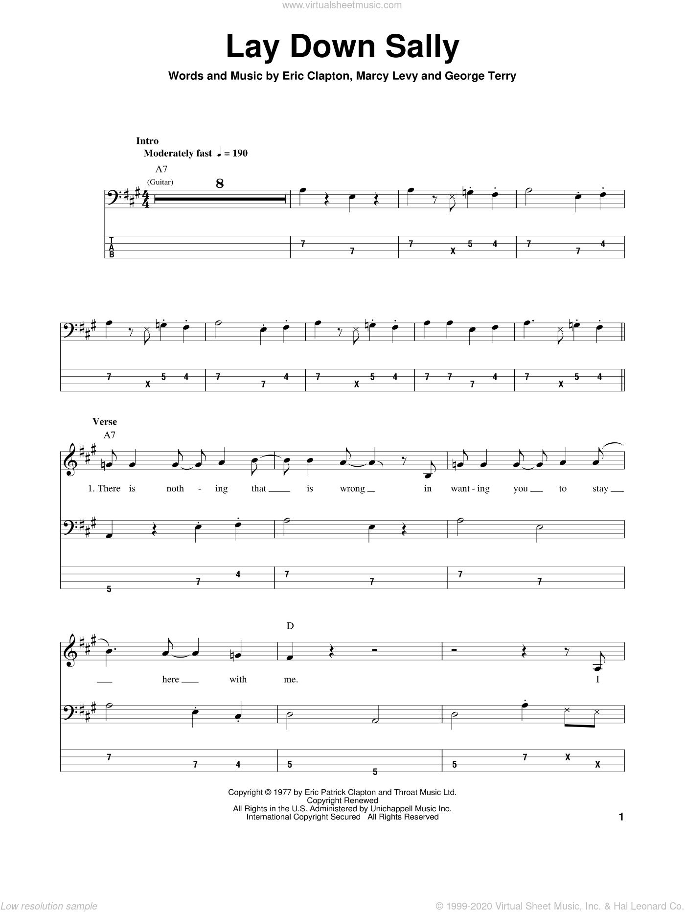 Lay Down Sally sheet music for bass (tablature) (bass guitar) by Marcy Levy, Eric Clapton and George Terry. Score Image Preview.