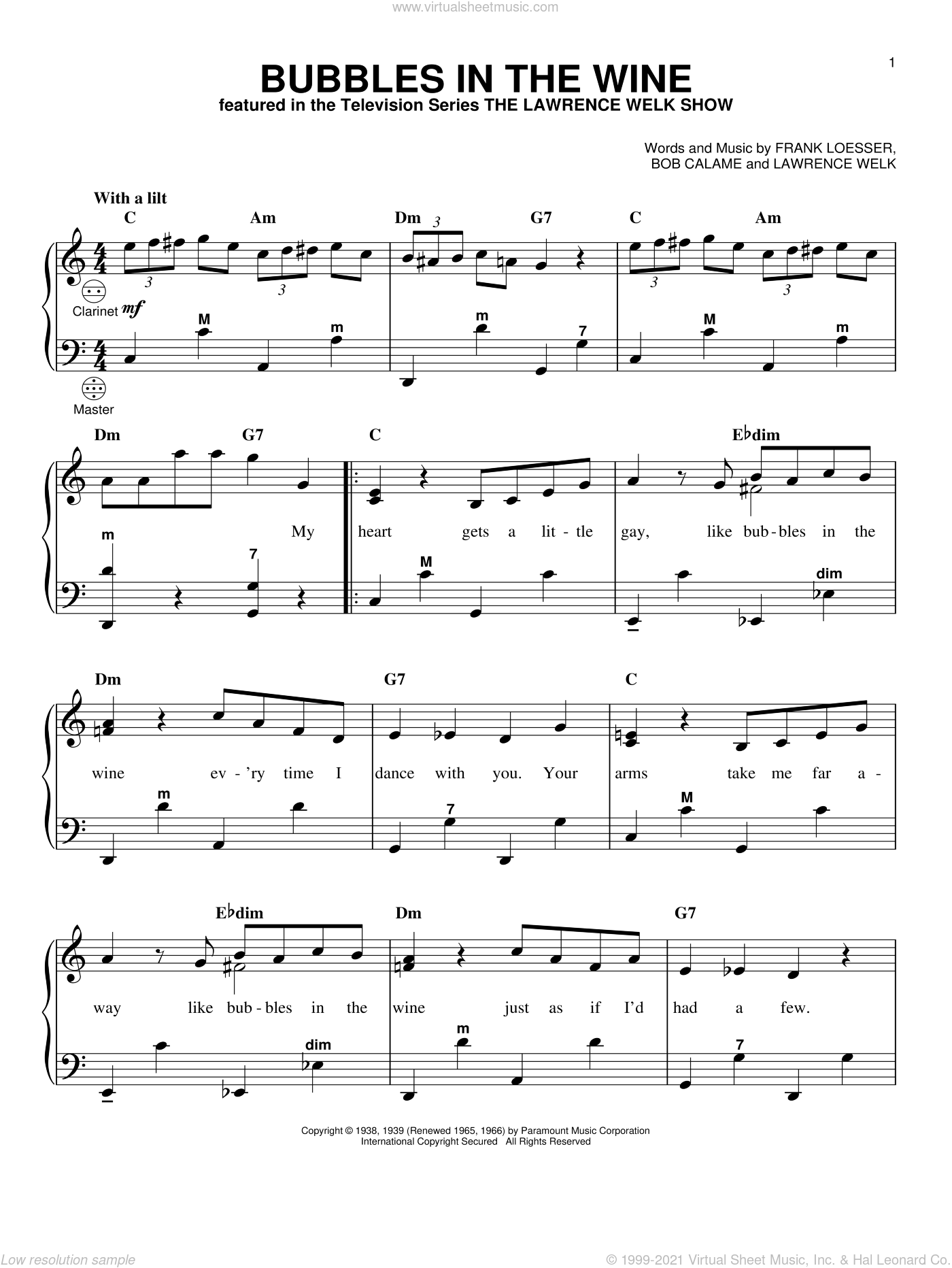 Bubbles In The Wine sheet music for accordion by Lawrence Welk, Gary Meisner, Bob Calame and Frank Loesser, intermediate skill level