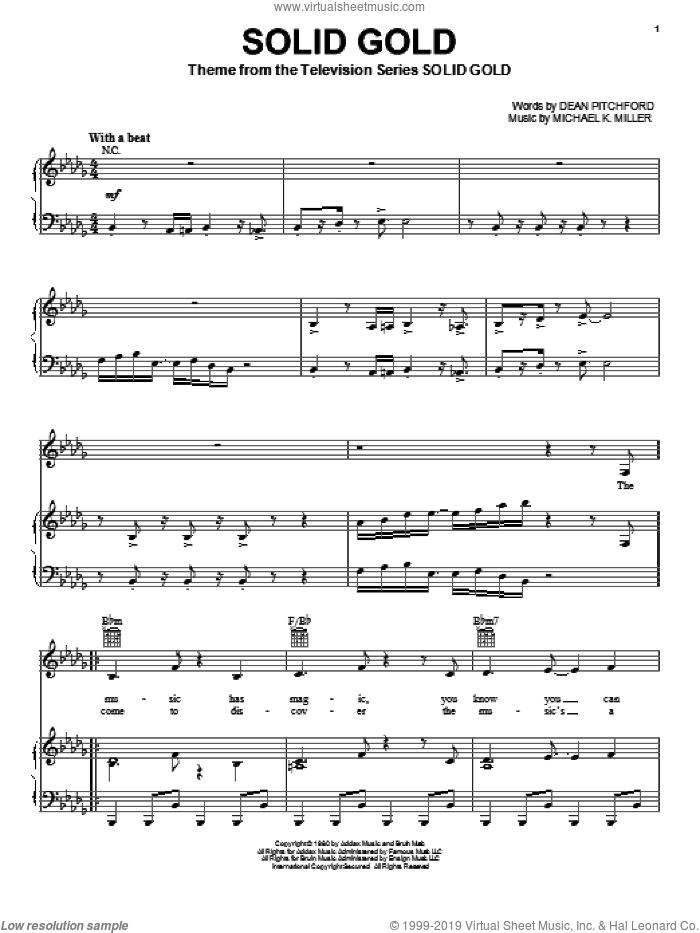 Solid Gold sheet music for voice, piano or guitar by Dean Pitchford, intermediate voice, piano or guitar. Score Image Preview.
