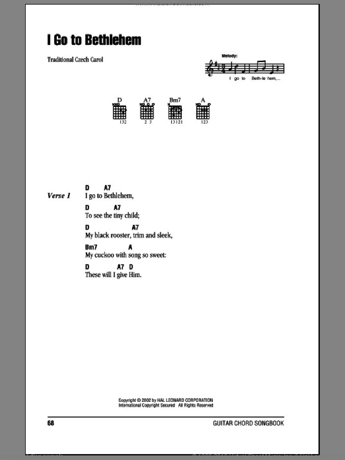 I Go To Bethlehem sheet music for guitar (chords). Score Image Preview.
