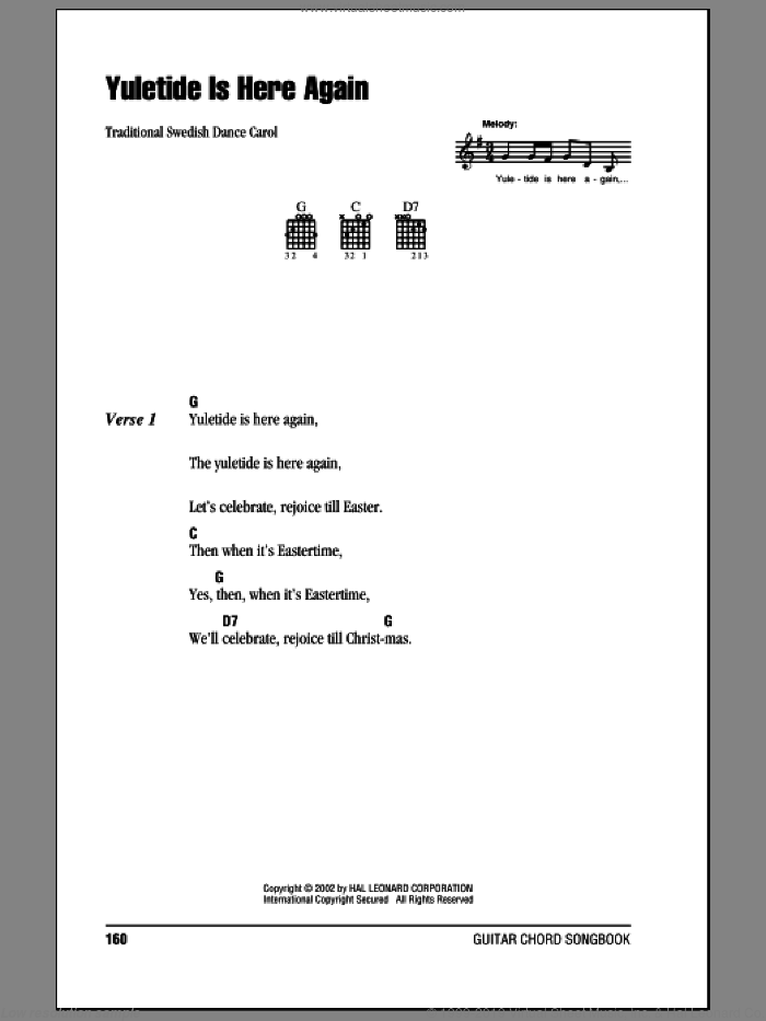 Yuletide Is Here Again sheet music for guitar (chords) by Traditional Swedish Carol and Miscellaneous. Score Image Preview.
