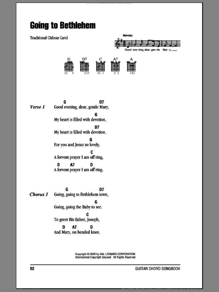 Going To Bethlehem sheet music for guitar (chords). Score Image Preview.