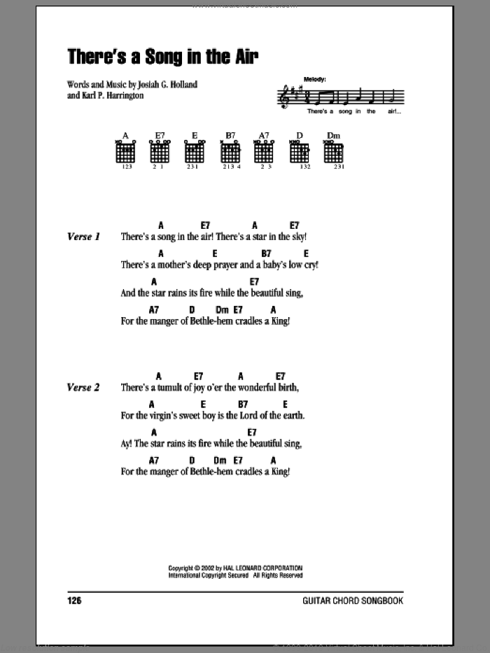 There's A Song In The Air sheet music for guitar (chords) by Karl P. Harrington. Score Image Preview.