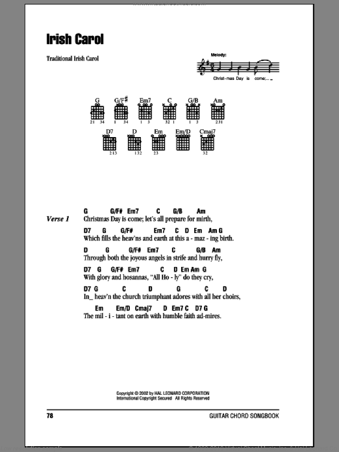 Irish Carol sheet music for guitar (chords). Score Image Preview.