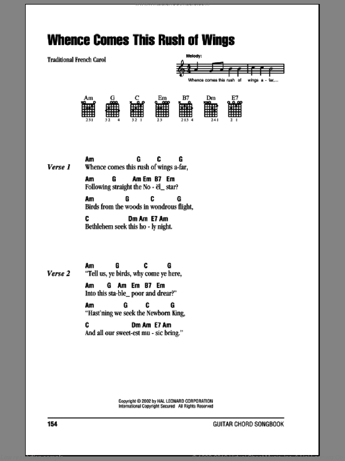Whence Comes This Rush Of Wings sheet music for guitar (chords), intermediate. Score Image Preview.