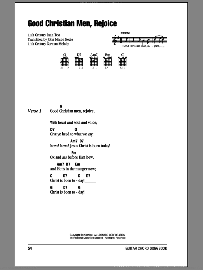 Good Christian Men, Rejoice sheet music for guitar (chords)