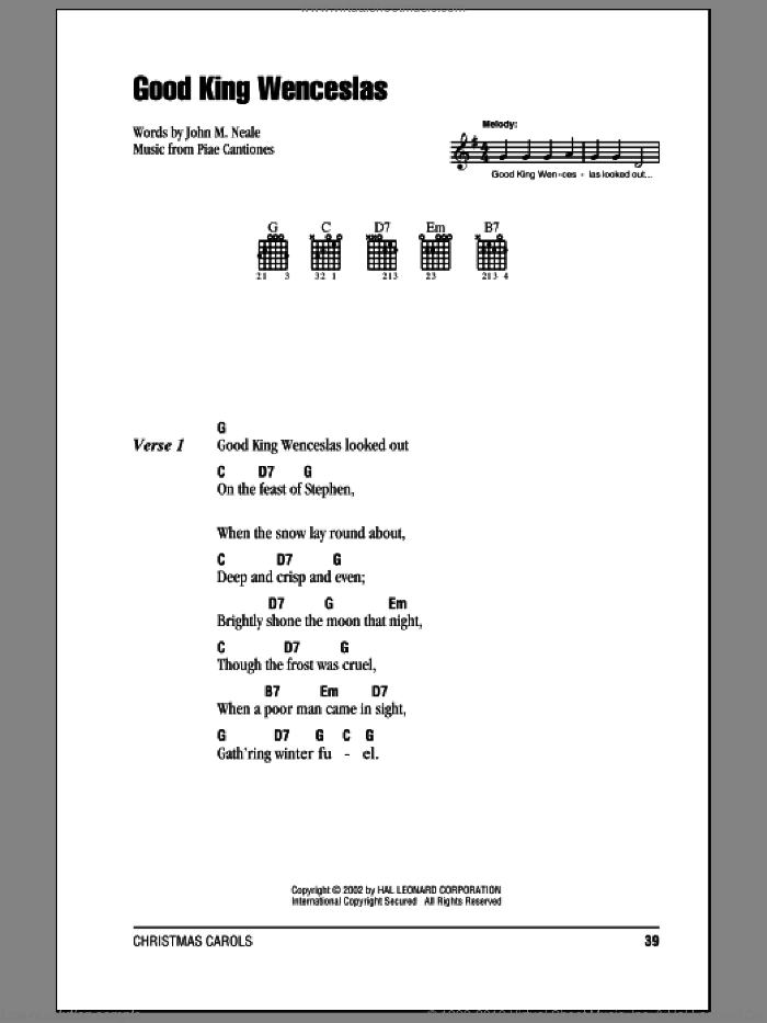 Good King Wenceslas sheet music for guitar (chords) by Piae Cantiones and John Mason Neale. Score Image Preview.