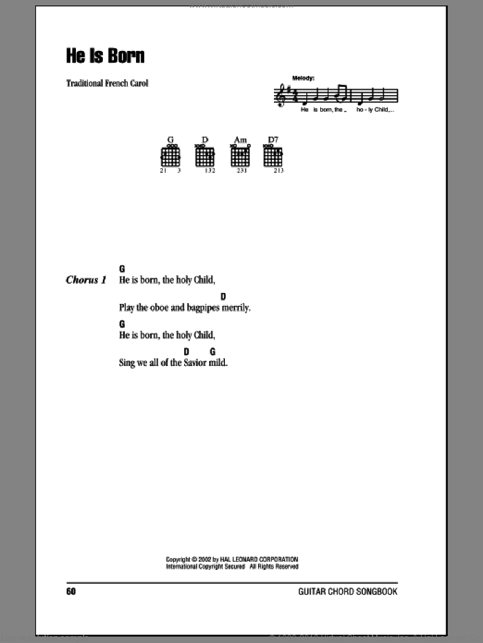He Is Born sheet music for guitar (chords). Score Image Preview.