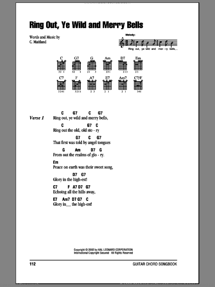 Ring Out, Ye Wild And Merry Bells sheet music for guitar (chords) by C. Maitland. Score Image Preview.