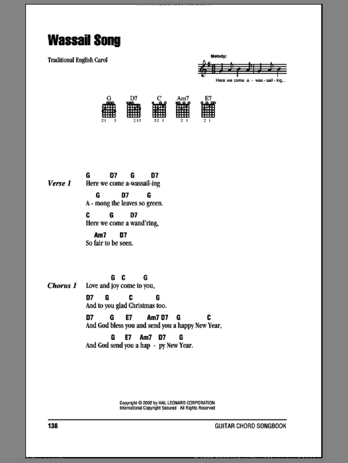 Wassail Song sheet music for guitar (chords), intermediate skill level