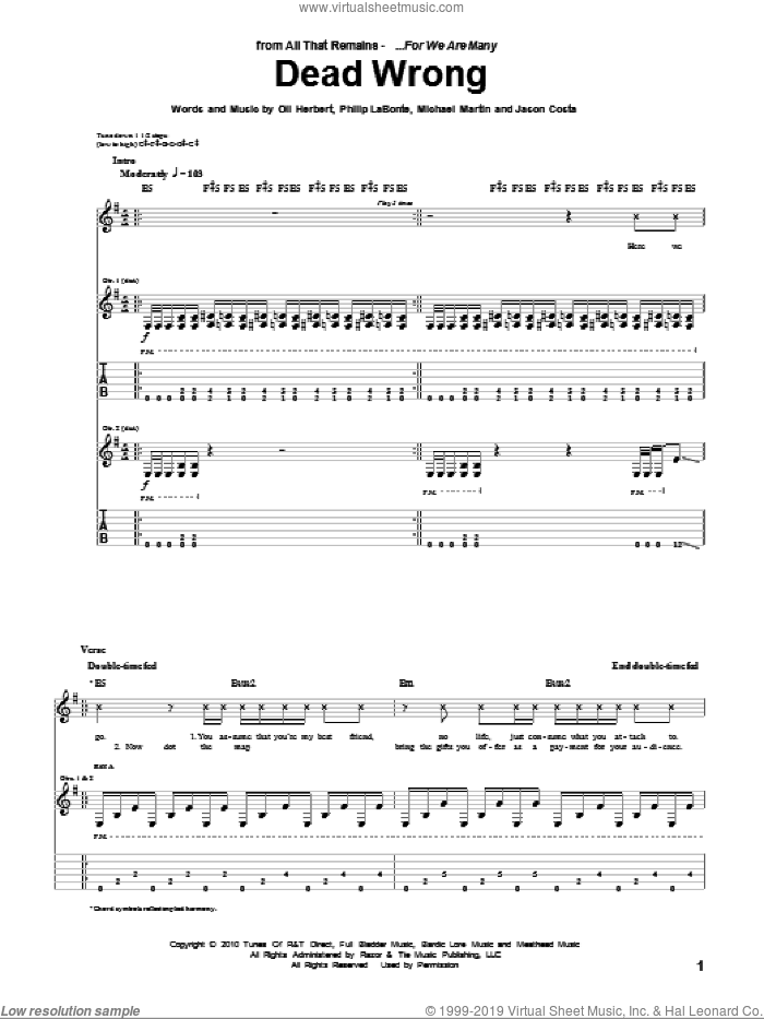 Dead Wrong sheet music for guitar (tablature) by Philip LaBonte and All That Remains. Score Image Preview.