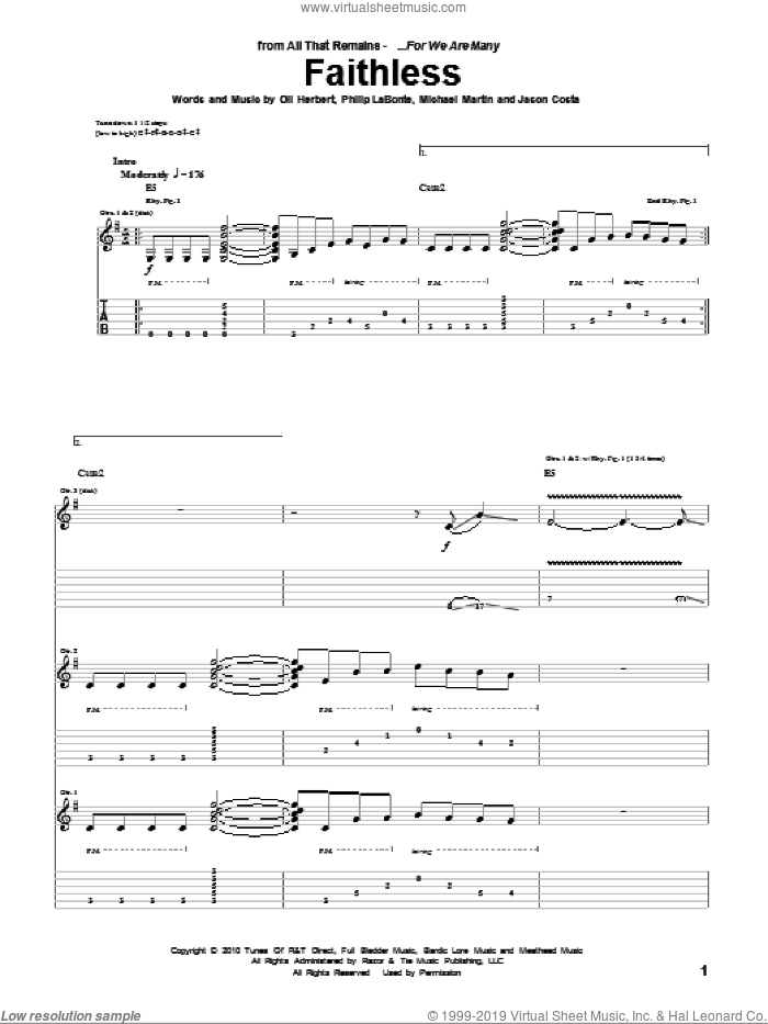 Faithless sheet music for guitar (tablature) by Philip LaBonte and All That Remains. Score Image Preview.