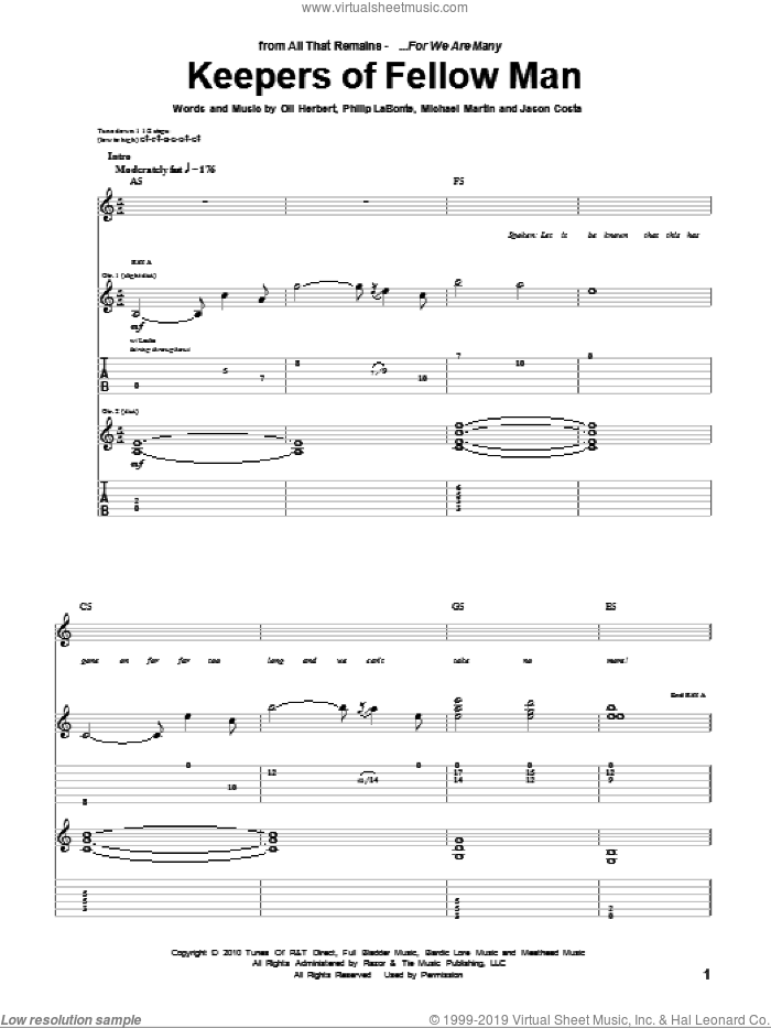 Keepers Of Fellow Man sheet music for guitar (tablature) by Philip LaBonte and All That Remains. Score Image Preview.