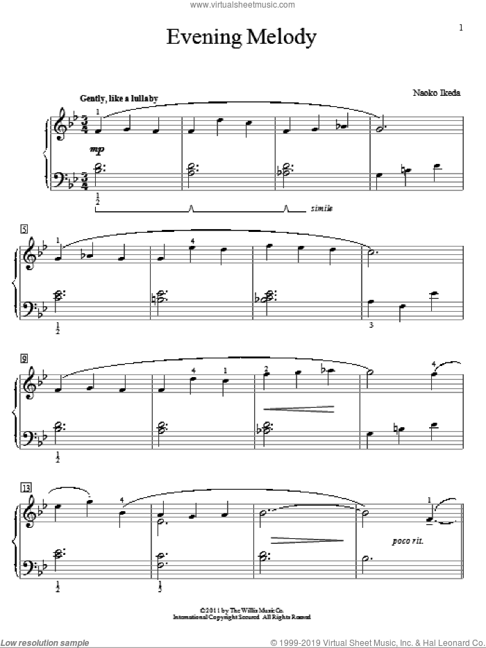 Evening Melody sheet music for piano solo (elementary) by Naoko Ikeda. Score Image Preview.