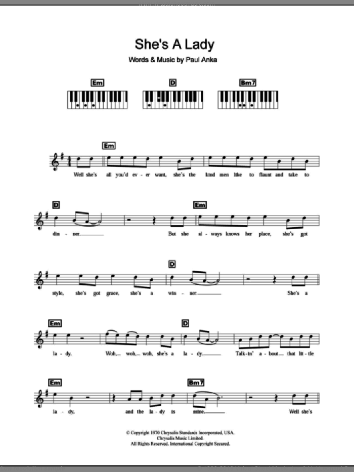 She's A Lady sheet music for piano solo (chords, lyrics, melody) by Paul Anka