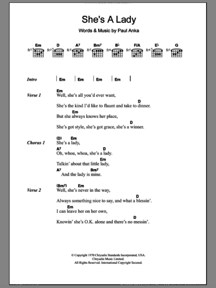 She's A Lady sheet music for guitar (chords) by Tom Jones and Paul Anka, intermediate skill level