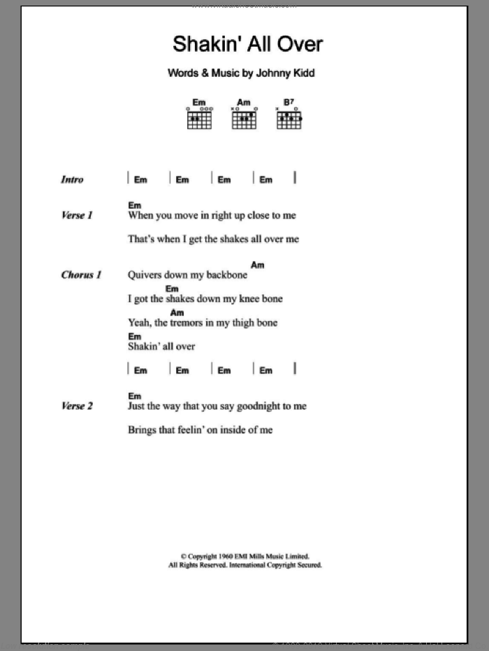 Shakin' All Over sheet music for guitar (chords) by Johnny Kidd. Score Image Preview.