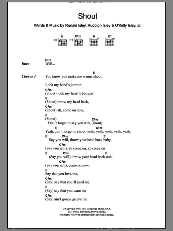 Shout sheet music for guitar (chords) by Lulu, Lulu and The Luvvers, The Isley Brothers, Ronald Isley and Rudolph Isley, intermediate skill level