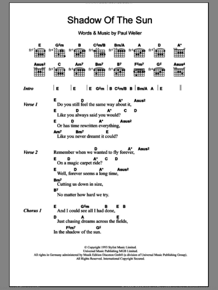 Shadow Of The Sun sheet music for guitar (chords) by Paul Weller. Score Image Preview.