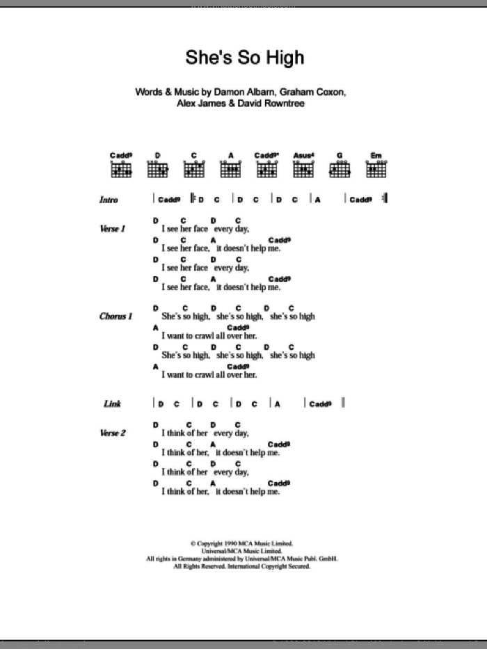 She's So High sheet music for guitar (chords) by Blur, Alex James, Damon Albarn, David Rowntree and Graham Coxon, intermediate skill level