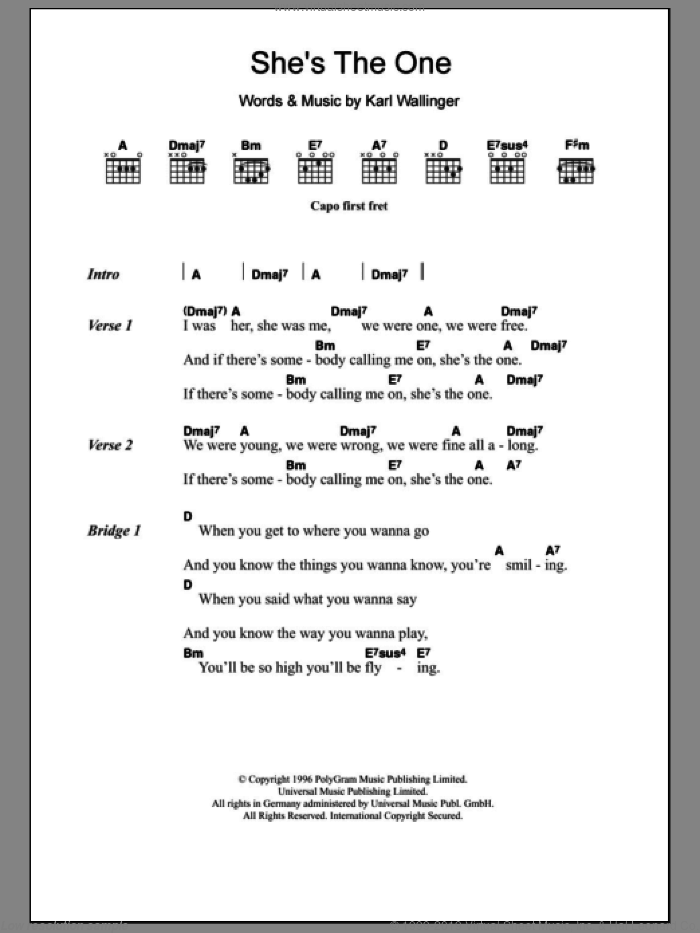 She's The One sheet music for guitar (chords) by Karl Wallinger and Robbie Williams. Score Image Preview.