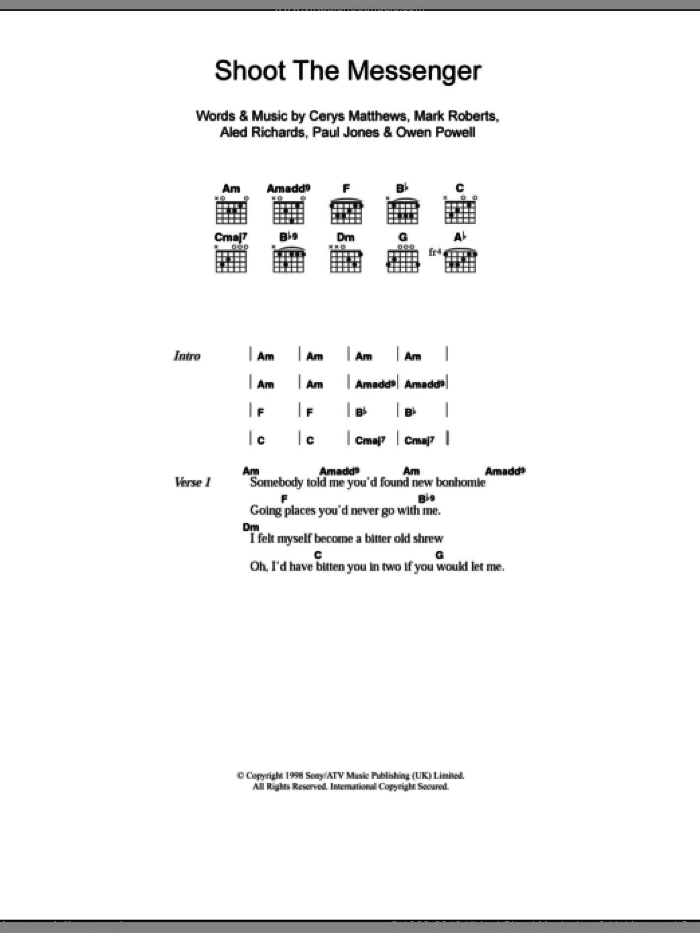 Shoot The Messenger sheet music for guitar (chords) by Catatonia. Score Image Preview.