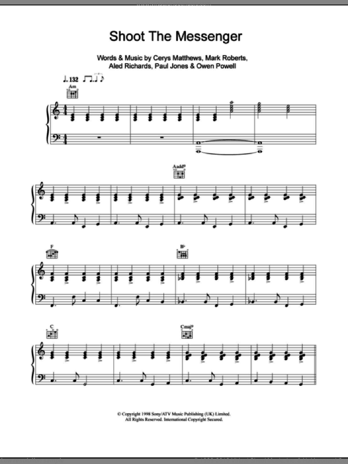 Shoot The Messenger sheet music for voice, piano or guitar by Catatonia, Aled Richards, Cerys Matthews, Mark Roberts, Owen Powell and Paul Jones, intermediate skill level