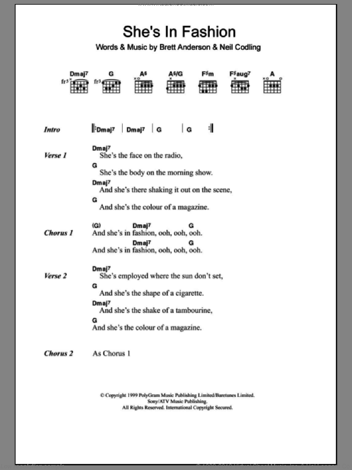 She's In Fashion sheet music for guitar (chords) by Neil Codling, Suede and Brett Anderson. Score Image Preview.