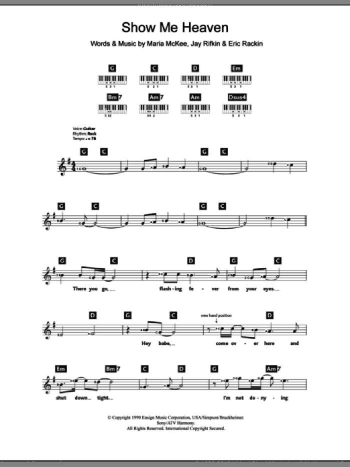 Show Me Heaven sheet music for piano solo (chords, lyrics, melody) by Maria McKee and Jay Rifkin. Score Image Preview.