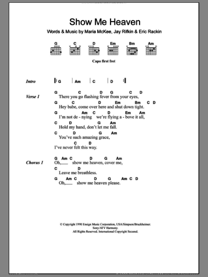 Show Me Heaven sheet music for guitar (chords) by Jay Rifkin and Maria McKee. Score Image Preview.