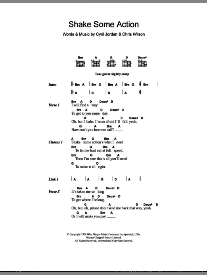 Groovies Shake Some Action Sheet Music For Guitar Chords