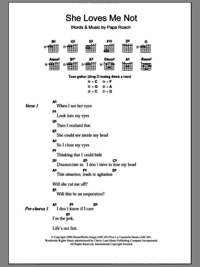 She Loves Me Not sheet music for guitar (chords, lyrics, melody) by Papa Roach